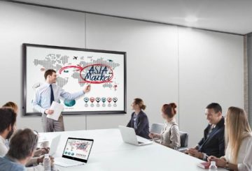 To 20-touch points, LG 86TR3D Interactive Digital Board σε χρήση meeting room.