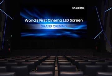 H πρώτη κινηματογραφική οθόνη 4Κ HDR Samsung Cinema LED στο Lotte Cinema World Tower στην Κορέα.