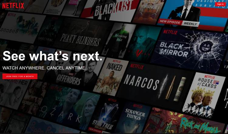 Netflix, homepage screenshot