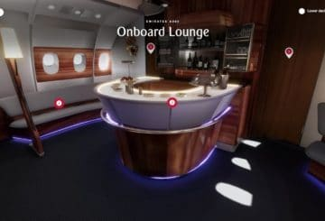 Emirates VR A380 onboard lounge