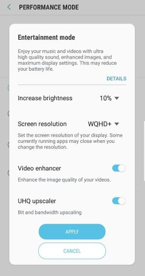 galaxy-s9-plus entertainment mode