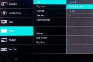 Philips 436m6 HDR menu, presets