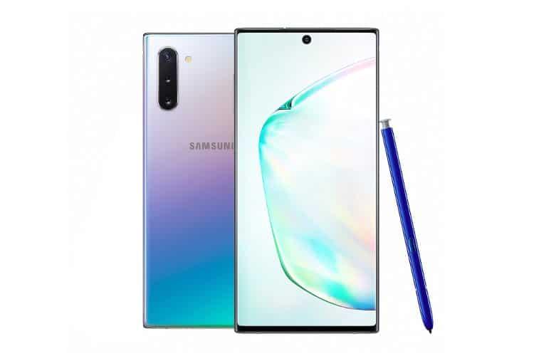Samsung Galaxy Note10+ σε Aura Glow χρωματισμό.